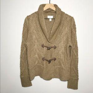 LOFT Alpaca Wool Blend Cable Knit Toggle Sweater